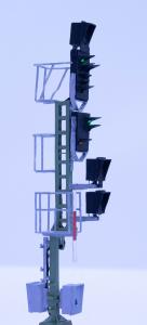 H0 Kompakt Einfahrsignal mit Vorsignal der DB mit Ausleger Mast DUMMY
