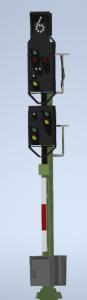 H0 Kompakt Einfahrsignal mit Vorsignal der DB mit geraden Mast DUMMY